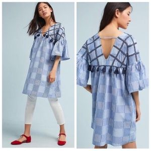 Maeve Plaid Tatum Embroider Tassel Tunic Dress
